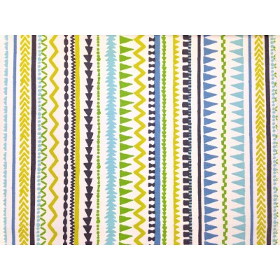 Curtain with design stripes in yellow, blue and green