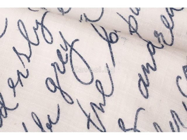 Плат за тънко перде натурален лен с надписи