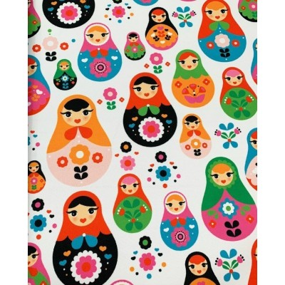 Curtain and upholstery with digital print Russian dolls