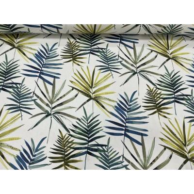 Плат за плътна завеса с листа в синьо и жълто