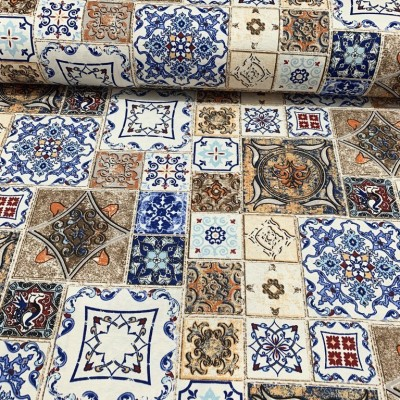 Upholstery with spanish tiles in blue and brown
