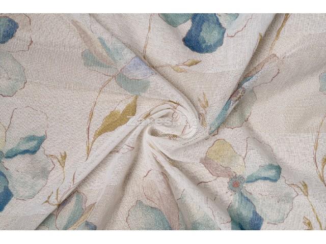 Плат за тънко перде с големи цветя в синьо и зелено
