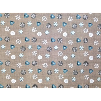 Christmas fabric with toys on grey background