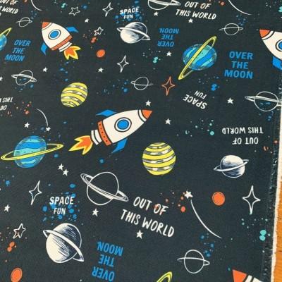 Плат за плътна детска завеса и дамаска Космос