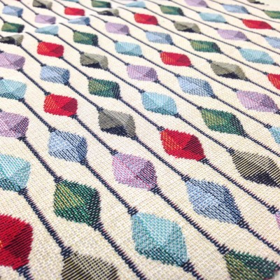 Jacquard curtain and upholstery with colorful rhombuses