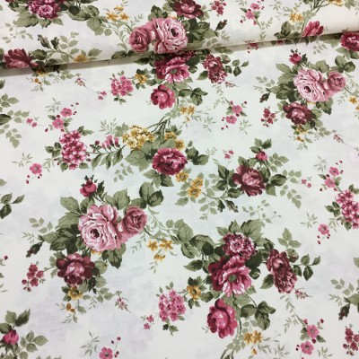 Curtain and upholstery with flowers