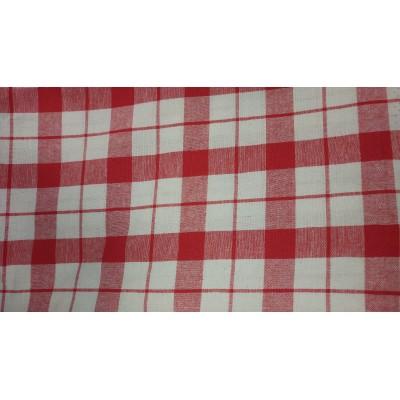Парче плат за покривки червено каре с размер 140/250