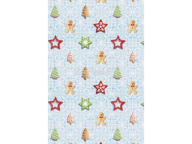 Коледен плат Курабийки на син фон