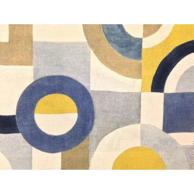 Плат за плътна завеса и дамаска Puzzle с абстрактни геометрични форми в синьо и жълто