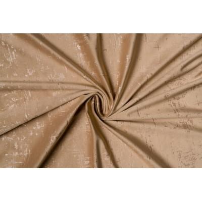 Едноцветен плат за плътна завеса тип кадифе в бежово с шарка