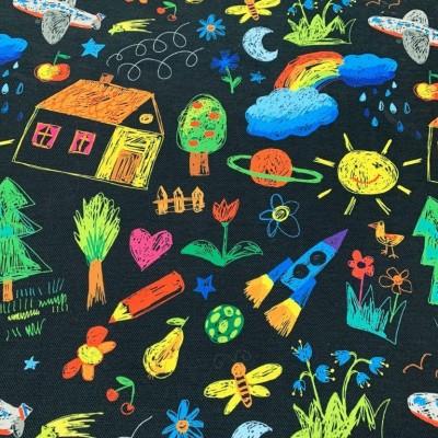 Плат за плътна детска завеса и дамаска Рисунки на черен фон