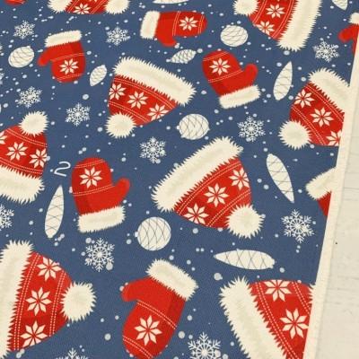 Коледен плат за покривки с шапки и ръкавички