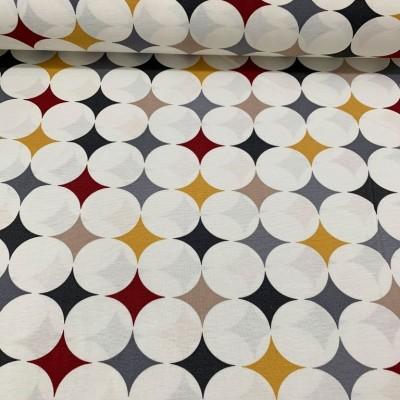 Дамаска с хидрофобирано покритие кръгове в бордо и жълто