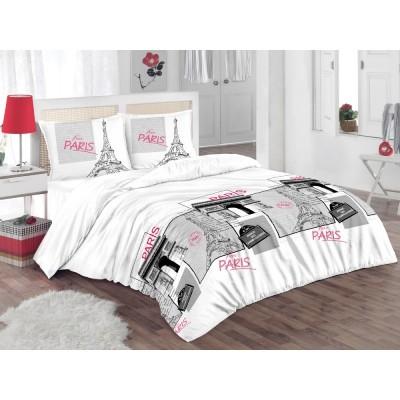 Единичен спален комплект ранфорс във винтидж стил Париж