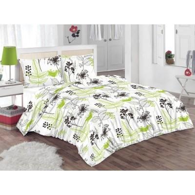 Двоен спален комплект с два плика ранфорс с флорални мотиви в зелено и сиво