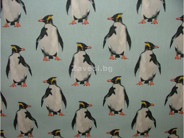 Плат за плътна завеса с пингвини на син фон