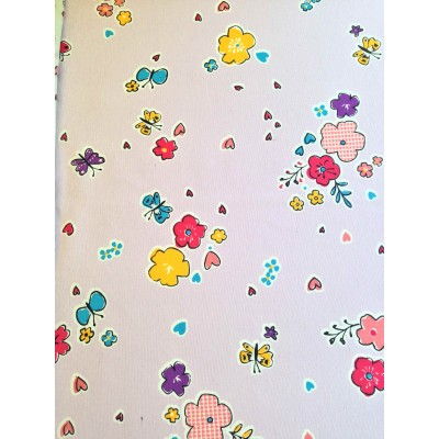 Curtain with flowers and butterflies on light purple background