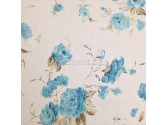 Плат за тънко перде имитиращо лен на сини рози