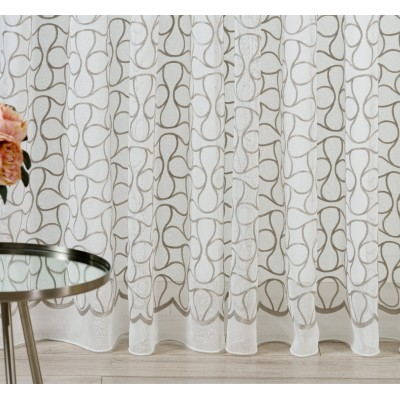 Curtain with embroidery in grey