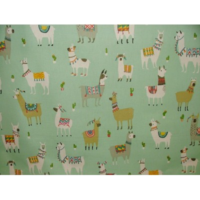 Curtain for children with print Lama on mint background
