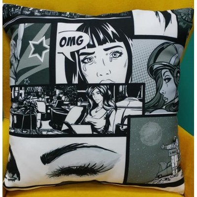 Decorative pillow case Comic in black and white size 43/43