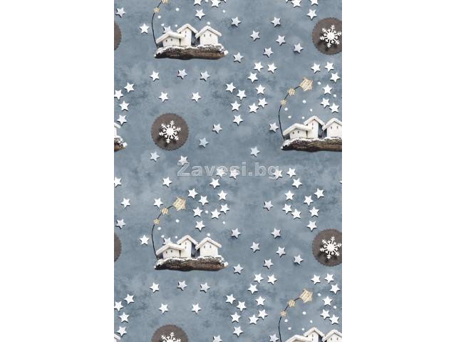 Коледен плат за плътни завеси и покривки с къщички и звездички