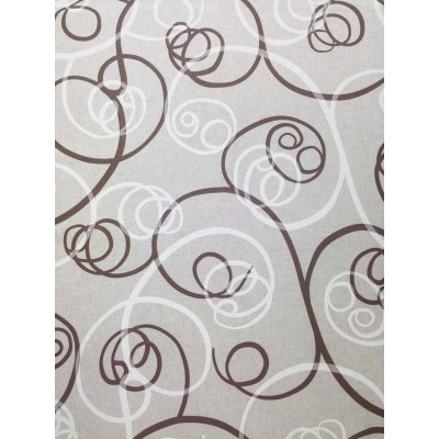 Curtain with spiral elements in brown