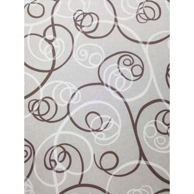 Плат за плътна завеса със спираловидни елементи в кафяво