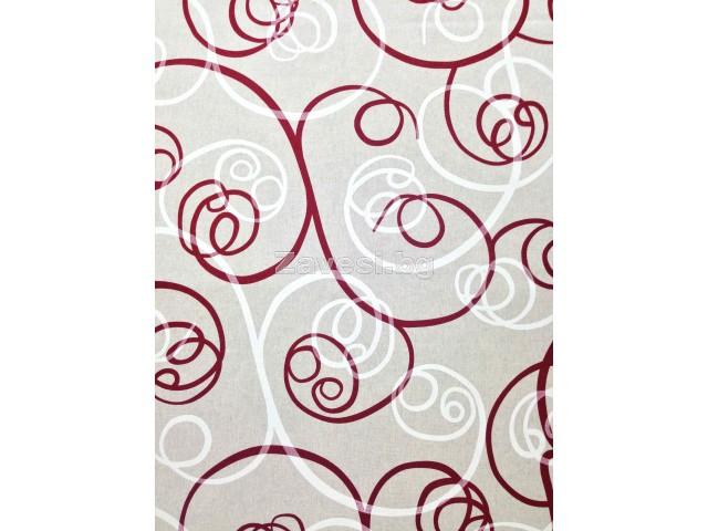 Плат за плътна завеса със спираловидни елементи в бордо