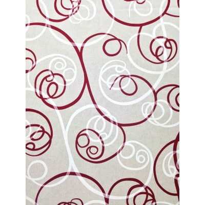 Curtain with spiral elements in red
