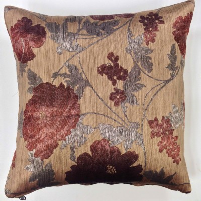 Decorative pillow case with flowers in brown