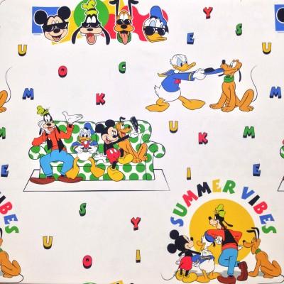 Плат за плътна детска завеса с оригинален десен на Дисни Мики Маус