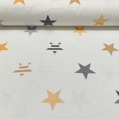 Плат за плътна завеса със звезди в жълто и сиво на бял фон