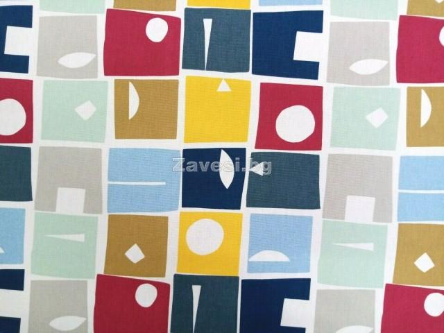 Плат за плътна завеса с шарени квадрати