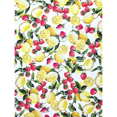 Curtain with digital stamp Lemons and Strawberrys