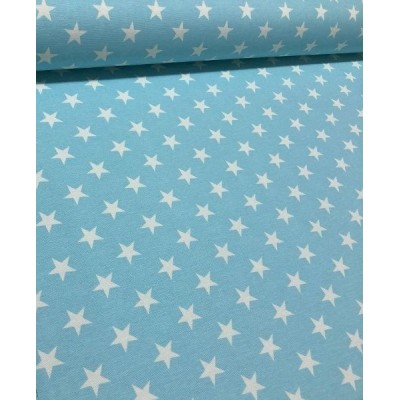 Плат за плътна завеса и дамаска с бели звезди на светло син фон