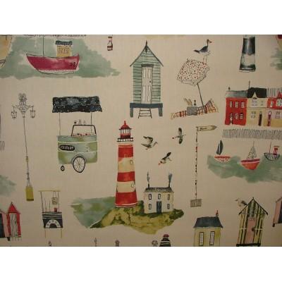 Плат за плътна детска завеса с десен Морски град