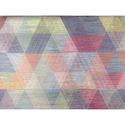 Плюшен геометричен десен в лилаво за плътна завеса и дамаска