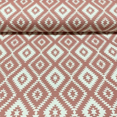 Curtain and upholstery with rhombuses in pink and white