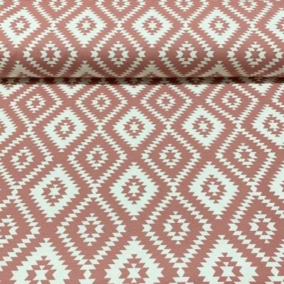 Плат за плътна завеса и дамаска с ромбоиди в розово и бяло