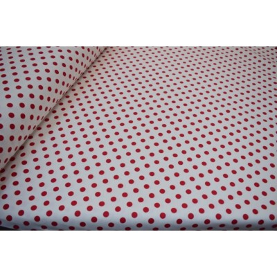 Curtain and upholstery with red dots