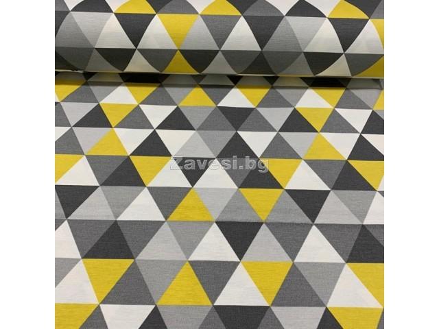 Дамаска с геометрични форми в жълто и сиво