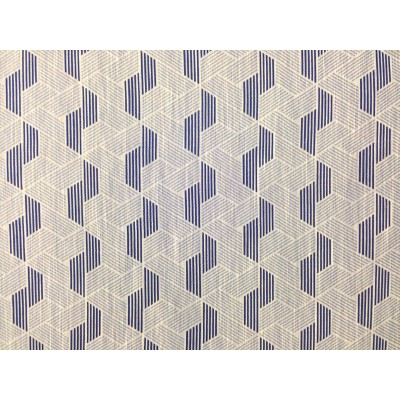 Curtain with geometric forms in dark blue