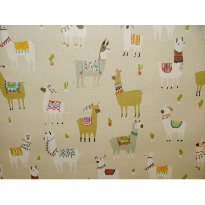 Curtain for children with print Lama in beige