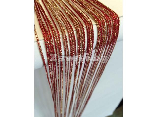 Ресни в червено с брокат (ламе) ширина 3м височина 3м