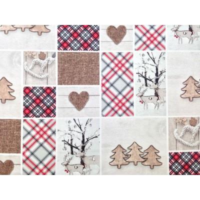 Коледен плат за покривки с елени и елхи на сив фон