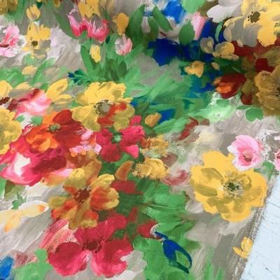 Плат за плътна завеса и дамаска с акварелен флорален десен