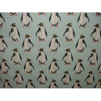 Плат за плътна детска завеса с пингвини на син фон