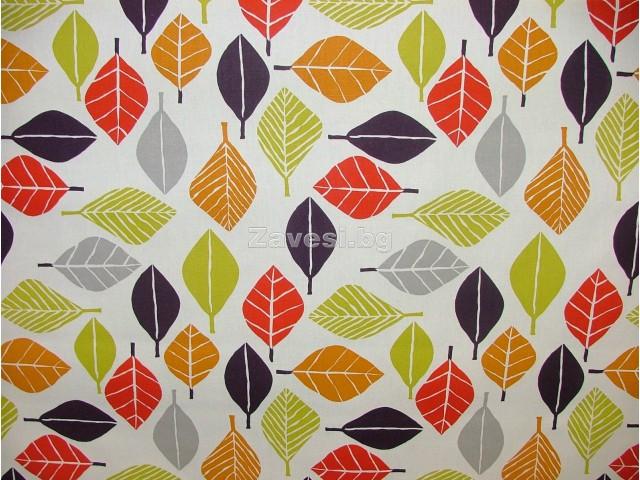 Плат за плътна завеса с шарени листа