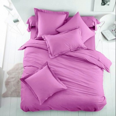 Едноцветен двоен спален комплект ранфорс в светло лилаво